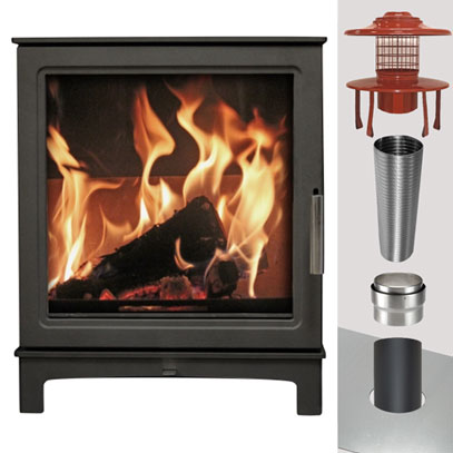 MI Fires Grisedale Stove & WOOD Flue Pack - 125mm Stove Pipe to 125mm Liner - 10 Metres