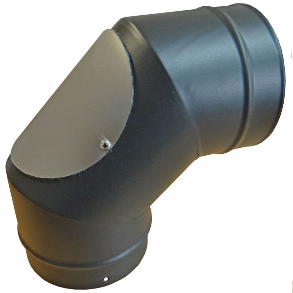 Stove Pipe 150mm Matt Black 90 Degree Elbow With Door